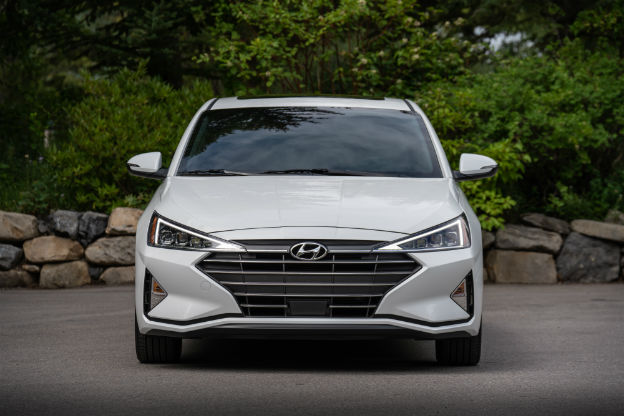 front view of a white 2019 Hyundai Elantra