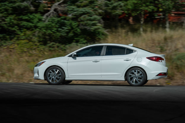 side view of a white 2019 Hyundai Elantra