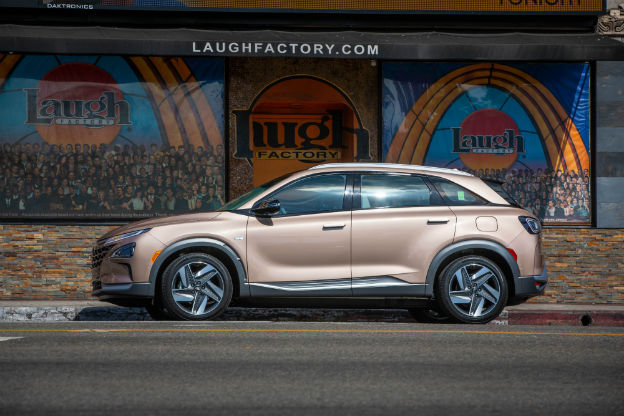 side view of a tan 2019 Hyundai Nexo