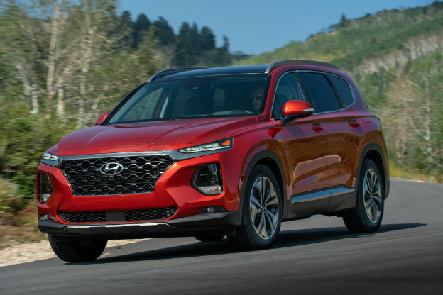 front view of a red 2020 Hyundai Santa Fe