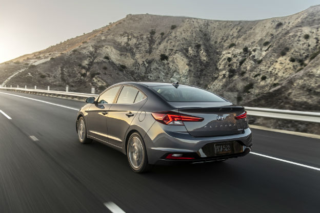 rear view of a gray 2020 Hyundai Elantra