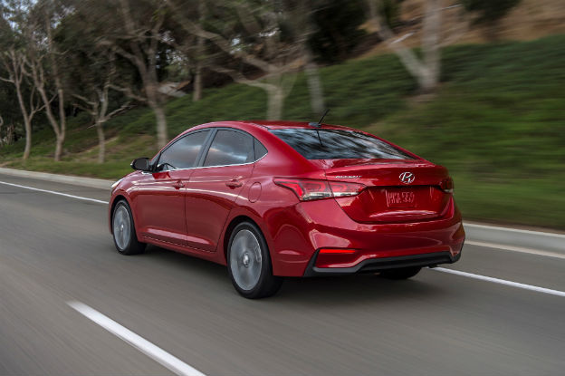 rear view of a red 2020 Hyundai Accent