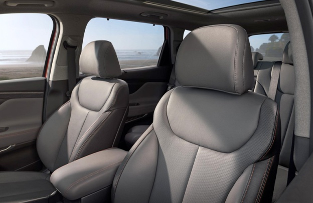 Interior of a 2020 Hyundai Santa Fe. There is no third row in sight.