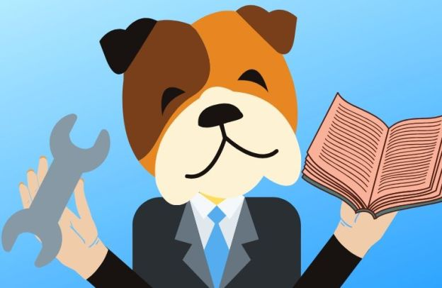 A happy dog wearing a suit holds a book and a wrench in its humanoid hands. It's ready to help.