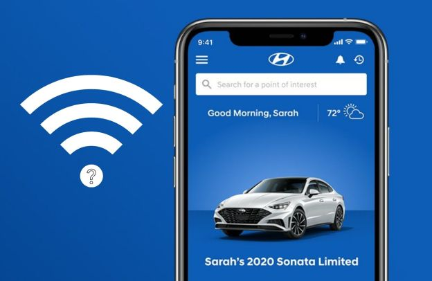 A wi-fi symbol with a question mark embedded within hovers next to the image of a phone with Hyundai Blue Link on the screen.