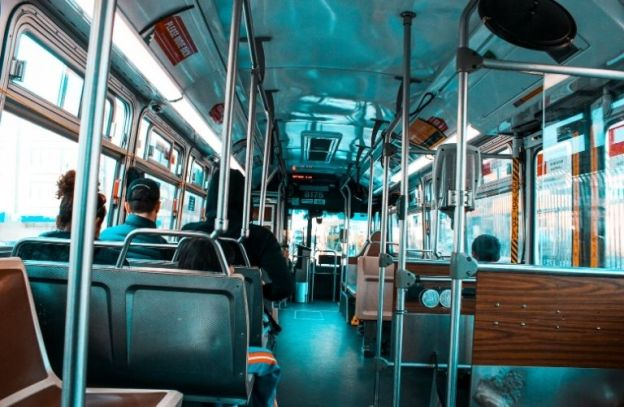 Interior of a bus from the back