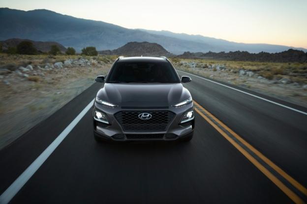 2021 Hyundai Kona Night Edition drives up a highway