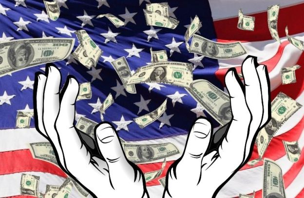 Money showers into hands in front of an American flag