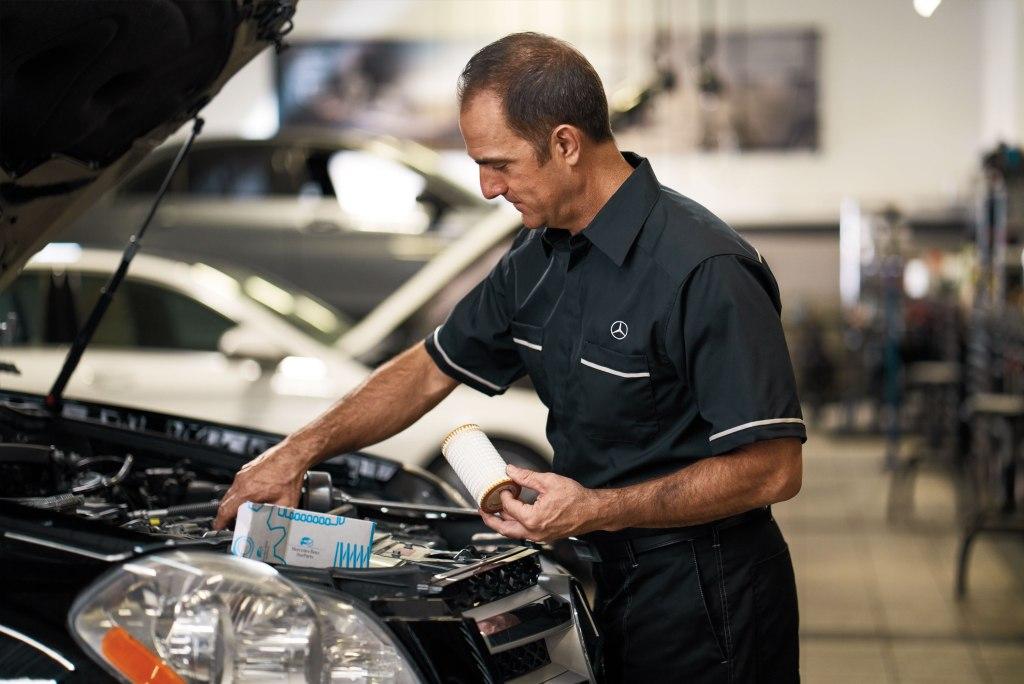 Mercedes Benz being serviced