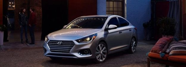 2021 Hyundai Accent on display with light reflection on the windshield