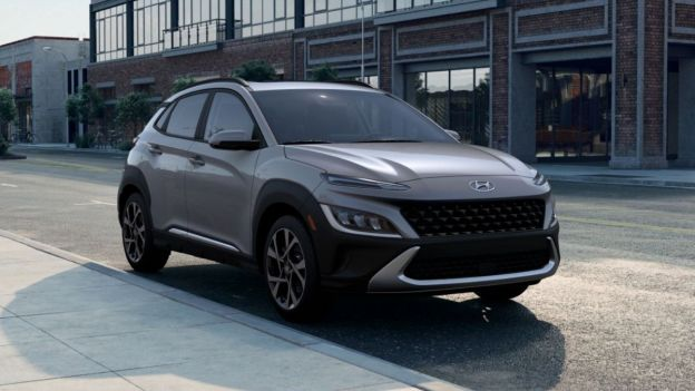 View of the 2022 Hyundai Kona parked near the curb